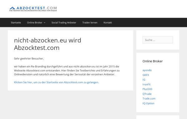 Vorschau von www.nicht-abzocken.eu, Verbraucherschutzverein gegen unseriöse Internetangebote