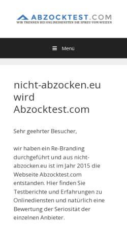 Vorschau der mobilen Webseite www.nicht-abzocken.eu, Verbraucherschutzverein gegen unseriöse Internetangebote