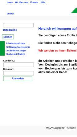 Vorschau der mobilen Webseite www.magv-gmbh.de, MAGV GmbH
