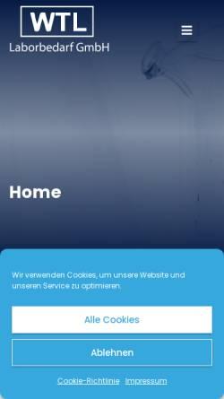 Vorschau der mobilen Webseite www.wtl-laborbedarf.de, WTL Wissenschaftlich Technischer Laborbedarf, Inh. Gunhild Schnieders und Dr. Christoph Schnieders