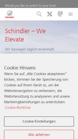 Vorschau der mobilen Webseite www.schindler.de, Schindler Aufzüge und Fahrtreppen GmbH