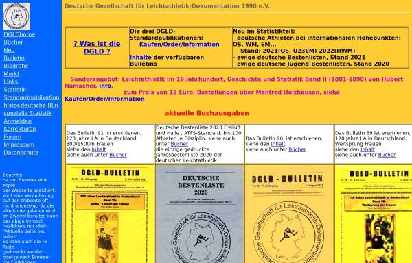 Vorschau von www.leichtathletik-dgld.de, Deutsche Gesellschaft für Leichtathletik-Dokumentation 1990 e.V.