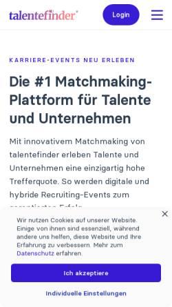 Vorschau der mobilen Webseite talentefinder.de, Talentefinder