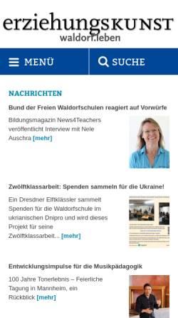 Vorschau der mobilen Webseite www.erziehungskunst.de, Erziehungskunst