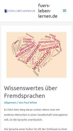 Vorschau der mobilen Webseite www.fuers-leben-lernen.de, Waldorfpädagogik in Rheinland-Pfalz, dem Saarland und Luxembourg
