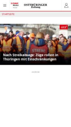 Vorschau der mobilen Webseite www.otz.de, OTZ - Ostthüringer Zeitung
