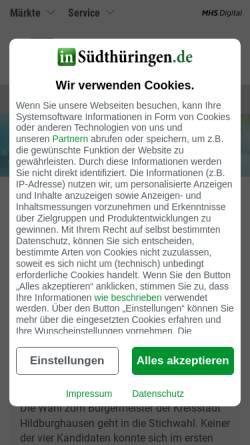 Vorschau der mobilen Webseite www.stz-online.de, STZ - Südthüringer Zeitung