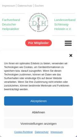 Vorschau der mobilen Webseite www.fdh-sh.de, Fachverband Deutscher Heilpraktiker Landesverband Schleswig-Holstein e. V.