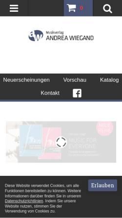 Vorschau der mobilen Webseite www.wiegandmusik.de, Musikverlag Andrea Wiegand