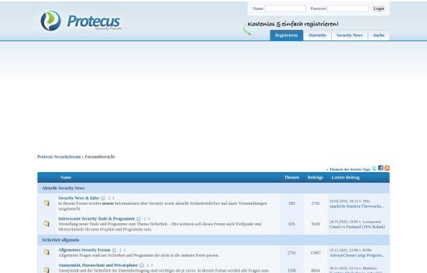 Vorschau von board.protecus.de, Protecus Securityboard