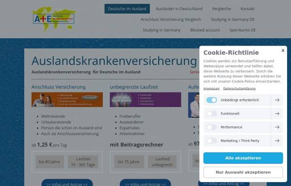 Vorschau von www.auslandstreff.de, Krankenversicherungsschutz im Ausland