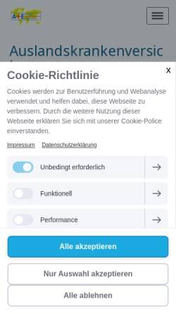 Vorschau der mobilen Webseite www.auslandstreff.de, Krankenversicherungsschutz im Ausland