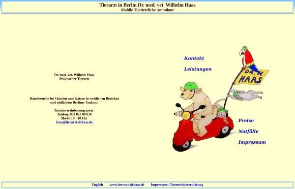 Vorschau von www.tierarzt-drhaas.de, Dr. Wilhelm Haas