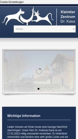 Vorschau der mobilen Webseite www.tierklinik-kasa.de, Kleintierklinik Dres. Kasa
