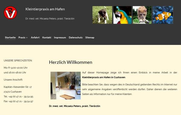 Vorschau von www.kleintierpraxis-am-hafen.de, Kleintierpraxis am Hafen