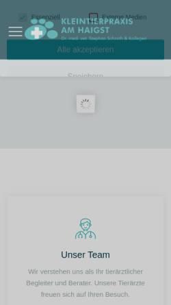 Vorschau der mobilen Webseite www.kleintierpraxisamhaigst.de, Kleintierpraxis am Haigst