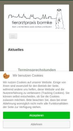 Vorschau der mobilen Webseite www.tierarztpraxis-bormke.de, Kleintierpraxis Bormke
