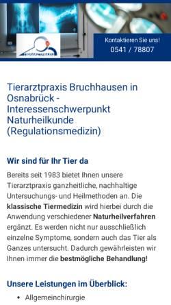 Vorschau der mobilen Webseite www.tierarzt-bruchhausen.de, Kleintierpraxis Bruchhausen