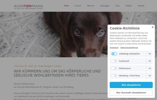 Vorschau von www.praxis-dr-bergner.de, Kleintierpraxis Dr. Anke Bergner-Lienert