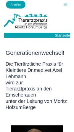 Vorschau der mobilen Webseite www.tierarzt-castrop.de, Kleintierpraxis Dr. med. vet. Axel Lehmann