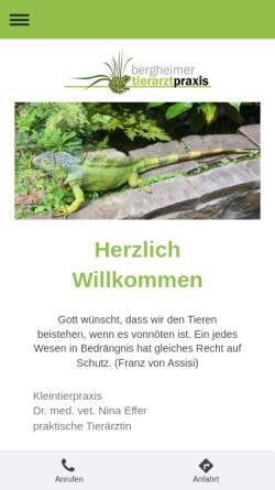 Vorschau der mobilen Webseite www.tierarztpraxis-effer.de, Kleintierpraxis Dr. med. vet. Nina Effer