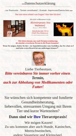 Vorschau der mobilen Webseite www.tierarztpraxis-neuwulmstorf.de, Kleintierpraxis Dr. med. vet. Petra Sindern