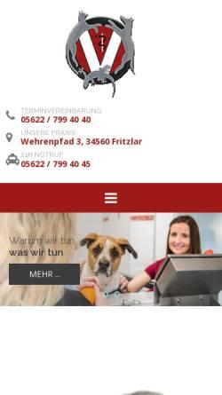Vorschau der mobilen Webseite www.tierarzt-fritzlar.de, Kleintierpraxis in Fritzlar GbR