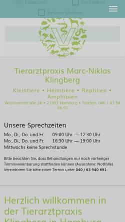 Vorschau der mobilen Webseite www.tierarztpraxis-klingberg.de, Kleintierpraxis Klingberg