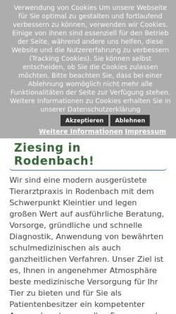 Vorschau der mobilen Webseite tierarzt-rodenbach.de, Kleintierpraxis Prakt. Tierarzt Steffen Ziesing