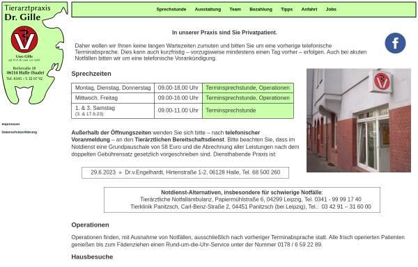 Vorschau von www.tierarztpraxis-in-halle.de, Kleintierpraxis Reilstraße Uwe Gille