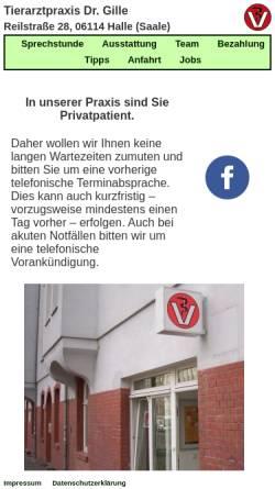 Vorschau der mobilen Webseite www.tierarztpraxis-in-halle.de, Kleintierpraxis Reilstraße Uwe Gille