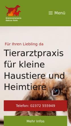 Vorschau der mobilen Webseite tierarzt-hemer.de, Kleintierpraxis Sabine Roeb