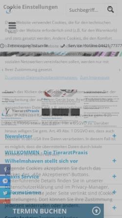 Vorschau der mobilen Webseite www.tierarzt-michling.de, Kleintier- und Pferde-Praxis Wilhelmshaven