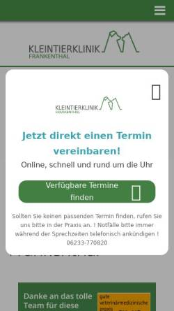 Vorschau der mobilen Webseite www.tierarzt-frankenthal.de, Tierärztliche Gemeinschaftspraxis Dr. med. vet. David und Dr. med. vet. Krützfeldt