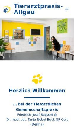 Vorschau der mobilen Webseite www.tierarztpraxis-allgaeu.de, Tierärztliche Gemeinschaftspraxis F.J. Sappert & T. Effenberger