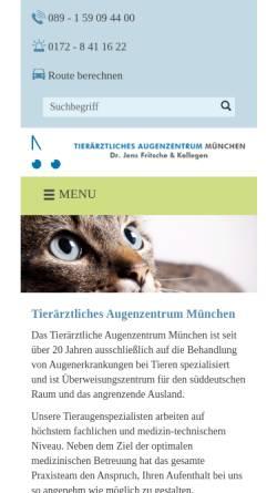 Vorschau der mobilen Webseite www.tier-augenheilkunde.de, Tierärztliche Praxis für Augenheilkunde Dr. Jens Fritsche