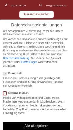 Vorschau der mobilen Webseite www.kleintiere-hamburg.de, Tierärztliche Praxis für Kleintiere Dr. Michael Gervers
