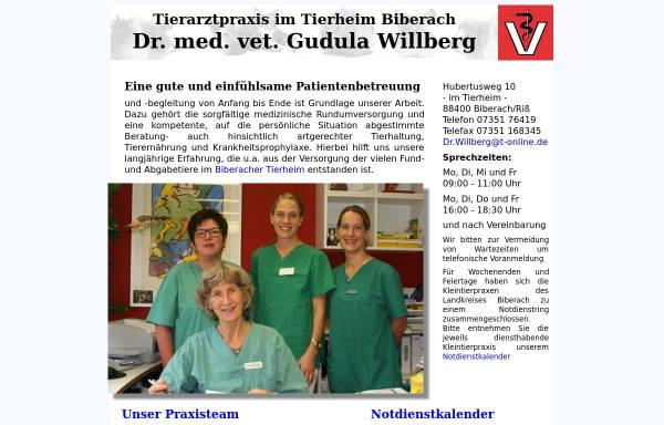 Vorschau von www.tierarztpraxis-willberg.de, Tierarztpraxis Dr. med. vet. Gudula Willberg