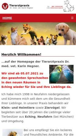 Vorschau der mobilen Webseite www.tierarztpraxis-hegner.de, Tierarztpraxis Dr. med. vet. Karin Hegner