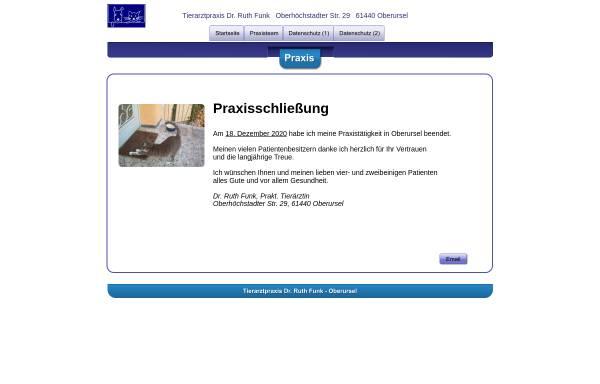 Vorschau von www.tieraerztin-drfunk.de, Tierarztpraxis Dr. Ruth Funk
