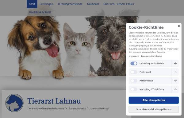 Vorschau von www.tierarzt-lahnau.de, Tierarztpraxis Dr. Sandra Nobel