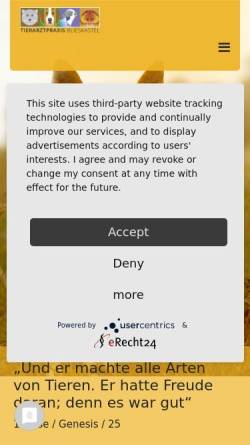 Vorschau der mobilen Webseite www.tierarzt-blieskastel.de, Tierarztpraxis Eva Pittendörfer