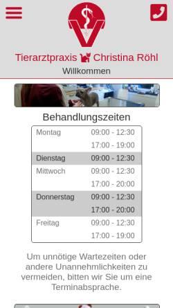 Vorschau der mobilen Webseite www.tierarzt-roehl.de, Tierarztpraxis für Kleintiere und Reptilien Christina Röhl