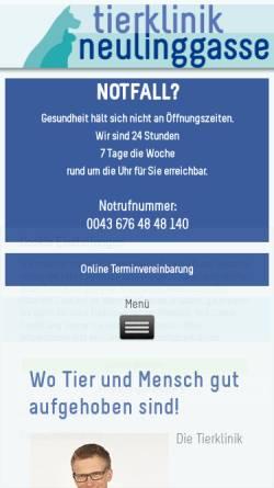 Vorschau der mobilen Webseite www.tierklinik-neulinggasse.at, Tierklinik Neulinggasse