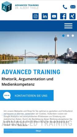 Vorschau der mobilen Webseite www.albertthiele.de, Dr. Thiele Albert Advanced Training