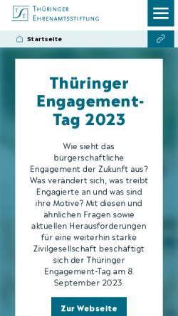 Vorschau der mobilen Webseite www.thueringer-ehrenamtsstiftung.de, Thüringer Ehrenamtsstiftung