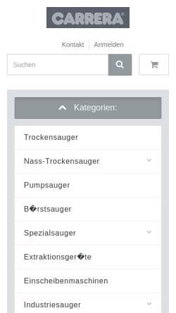 Vorschau der mobilen Webseite www.carrera-industriesauger.de, Carrera Industriesauger, Inh. Karl-Heinz Schmiegel