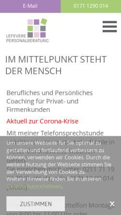 Vorschau der mobilen Webseite www.lefevere-personalberatung.de, ALefevere Personal- und Unternehmensberatung - Astrid Lefevere