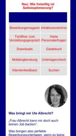 Vorschau der mobilen Webseite www.bewerbungsberatung-albrecht.de, Bewerbungsberatung - Ute Albrecht