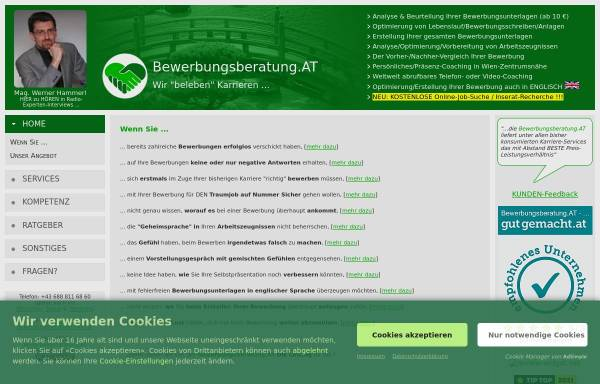 Vorschau von www.bewerbungsberatung.at, Bewerbungsberatung.at - Mag. Werner HAMMERL